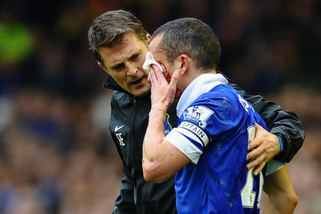 Everton Post Picture of Leon Osman's Face After Getting Stitches