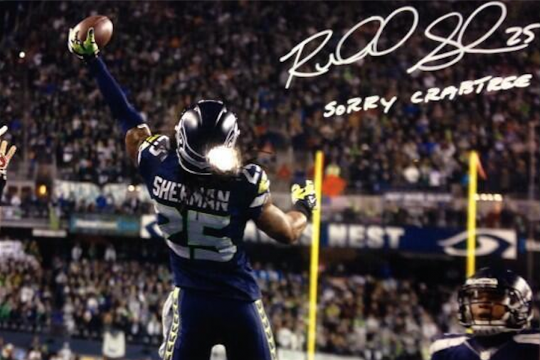 Richard Sherman Is Signing Autographs with 'Sorry Crabtree'
