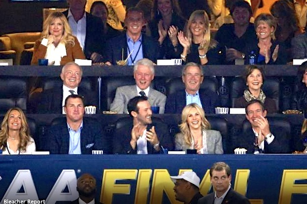 Bill Clinton, George W. Bush Sit in Jerry Jones' 2014 NCAA Championship Suite