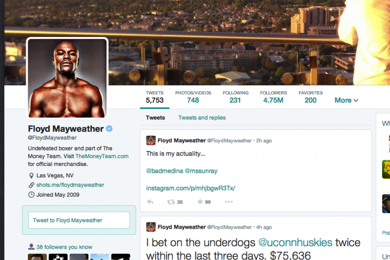 Floyd Mayweather Jr First Sportsman with New-Look Twitter Account
