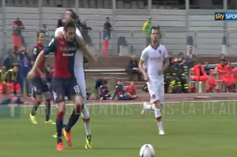 GIF: Mattia Destro Attacks Davide Astori, Suspended 3 Matches