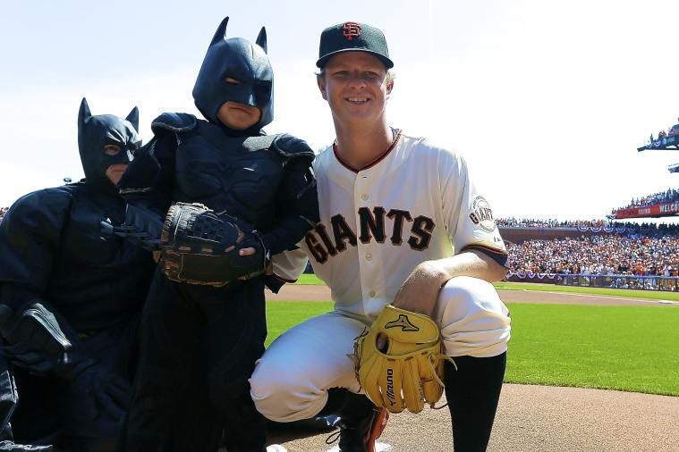 Batkid Steals the Show at Giants' 2014 Home Opener, Throws out 1st Pitch
