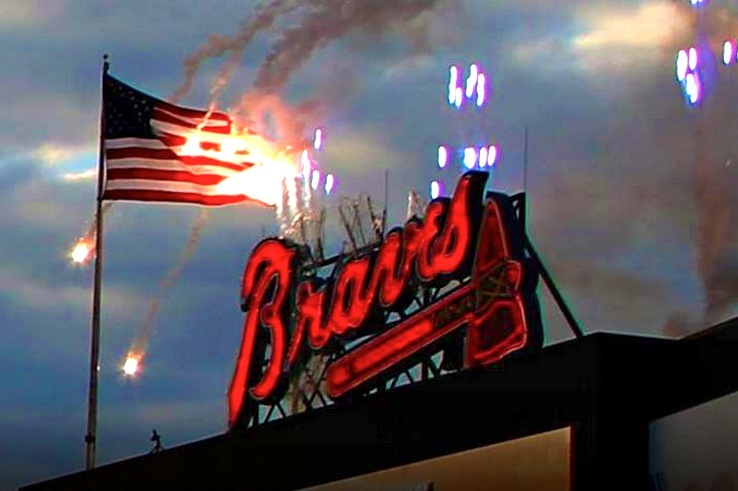Atlanta Braves' Pregame Fireworks Accidentally Set American Flag on Fire