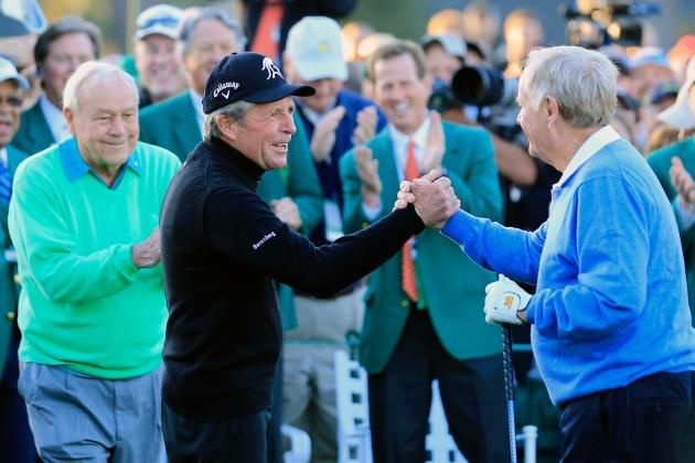 Arnold Palmer, Jack Nicklaus and Gary Player Get 2014 Masters Underway