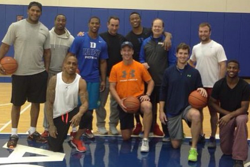 Manning Brothers, Broncos Receivers Hoop It Up at Duke