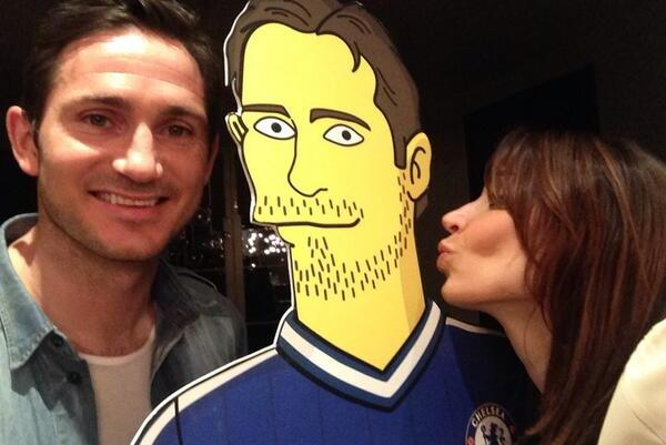 Chelsea's Frank Lampard Poses with Simpsons Version of Frank Lampard
