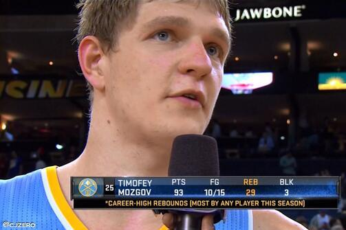 Erroneous Graphic Shows That Nuggets' Timofey Mozgov's Huge Night Was Legendary
