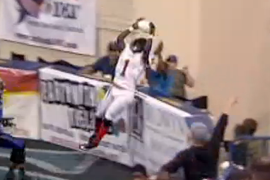 Indoor Football League Player Makes Incredible TD Catch over End-Zone Fence