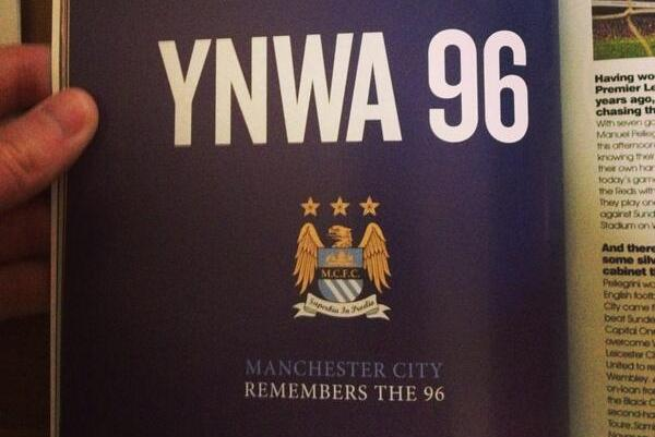 Manchester City Pay Tribute to Hillsborough 96 with Ad in Liverpool Programme