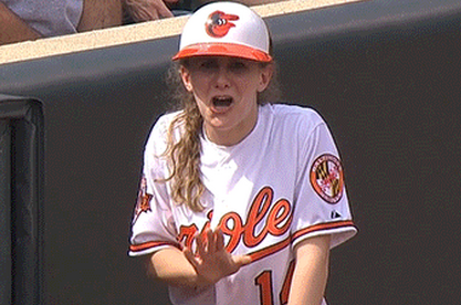 Baltimore Orioles Ball Girl Accidentally Fields Live Ball vs. Blue Jays
