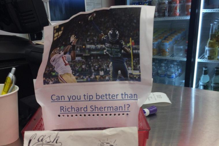 Restaurant Uses Picture of Richard Sherman to Encourage Tips
