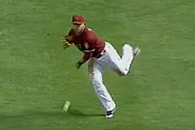 D-Backs' Gerardo Parra Throws out Dan Haren at 1st Base from Right Field
