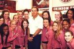 Saban Looks Awkward Next to Bama Gymnasts