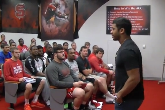 WATCH: Seahawks' Russell Wilson Talks to NC State Players