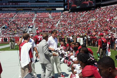 Photo: Nick Saban, Lane Kiffin Engage on Alabama's Sideline