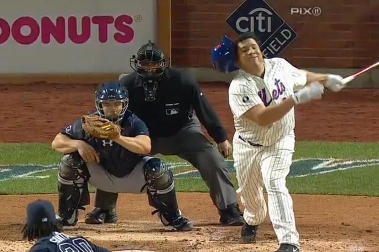 New York Mets' Bartolo Colon Loses Helmet on Awful Swing