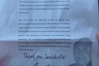 Barry Trotz Takes out Newspaper Ad Thanking Predators Fans