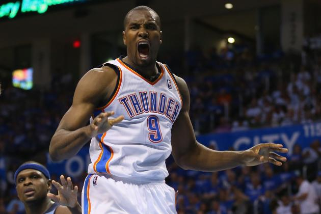 Serge Ibaka Blocks Ed Davis and Gives Him the Dikembe Mutombo Treatment