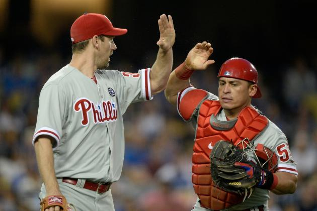 Phillies' Lee Blanks Dodgers in 7-0 Win