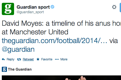 David Moyes' Manchester United Sacking Prompts Unfortunate Guardian 'Anus' Typo