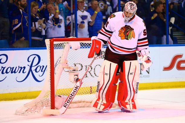 Is Corey Crawford's Reputation on the Line in Playoff Series vs St. Louis Blues?