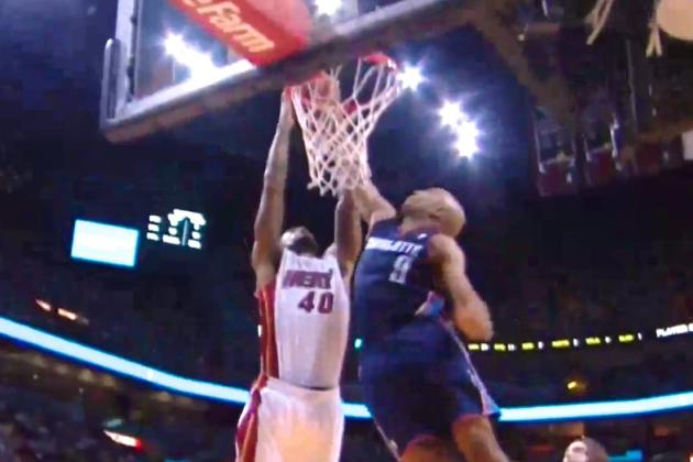 Gerald Henderson Thwarts Udonis Haslem Dunk Attempt with Big-Time Block