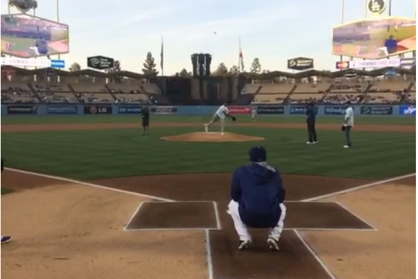 Nick Young Puts Extra Swag on His 1st Pitch at Dodger Stadium