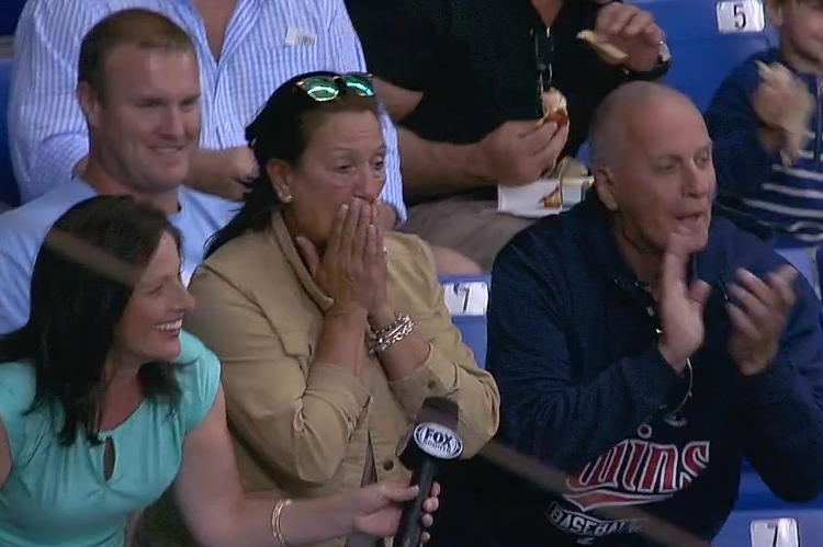 Twins Player Knocks in 2-Run Home Run While Mom Is Being Interviewed for TV