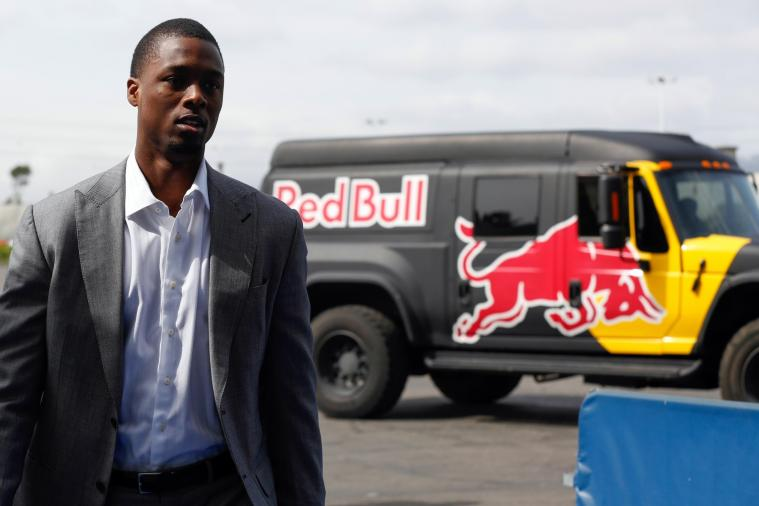 Harrison Barnes Arrives to Game vs. Clippers in Red Bull Military Extreme Truck
