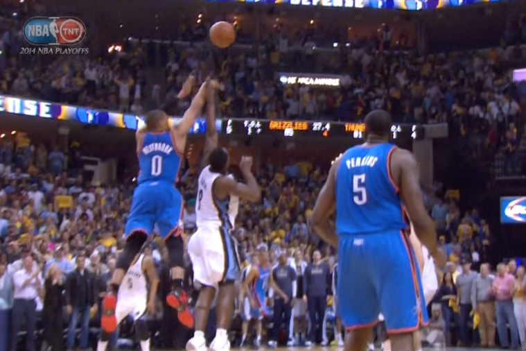 Thunder's Russell Westbrook Ties Game 3 Against Grizzlies Late with 4-Point Play