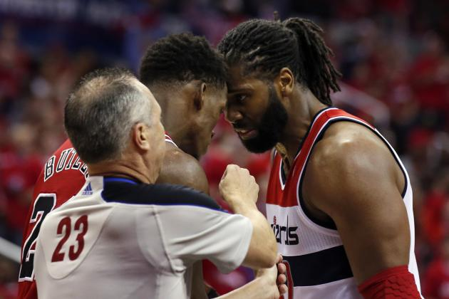 Nene Suspended for Game 4 of Wizards-Bulls Series for Grabbing Jimmy Butler