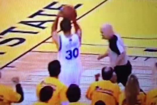 Referee Joey Crawford Plays Defense Against Stephen Curry