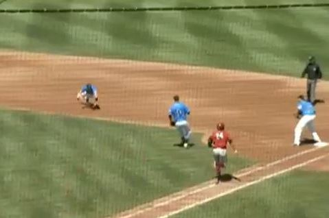 Indians' Minor League Second Baseman Makes Crazy Glove Flip to First Base
