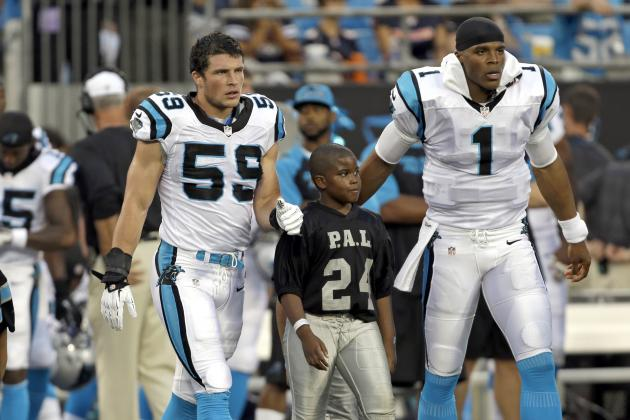 Newton, Kuechly Best on the Field, in Sales