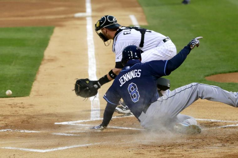 Rays' Desmond Jennings Scores from 2nd Base on Sacrifice Fly