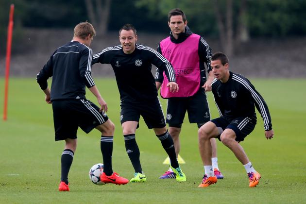 Petr Cech, John Terry, Eden Hazard, Samuel Eto'o Train Before Chelsea V Atletico