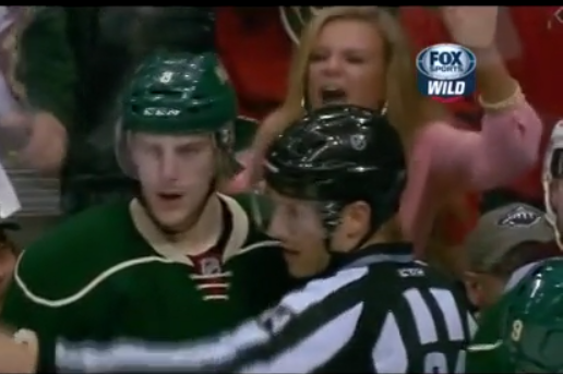 Blonde Minnesota Wild Fan Goes Absolutely Crazy on Colorado Avalanche