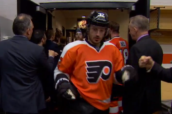Flyers Postgame Locker Celebration