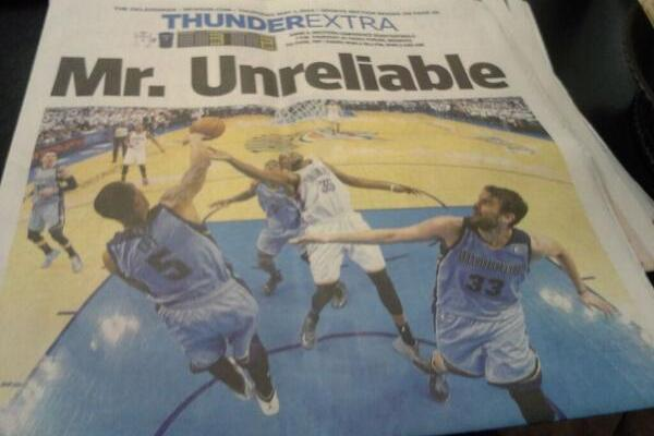 Oklahoma Newspaper Front Page Calls Kevin Durant 'Mr. Unreliable'