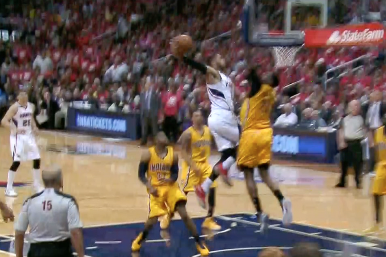 Hawks' Mike Scott Throws Down Powerful Dunk over Ian Mahinmi