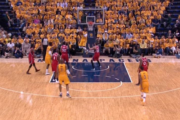 Paul George Throws Down Smooth Double-Clutch Slam Against Hawks