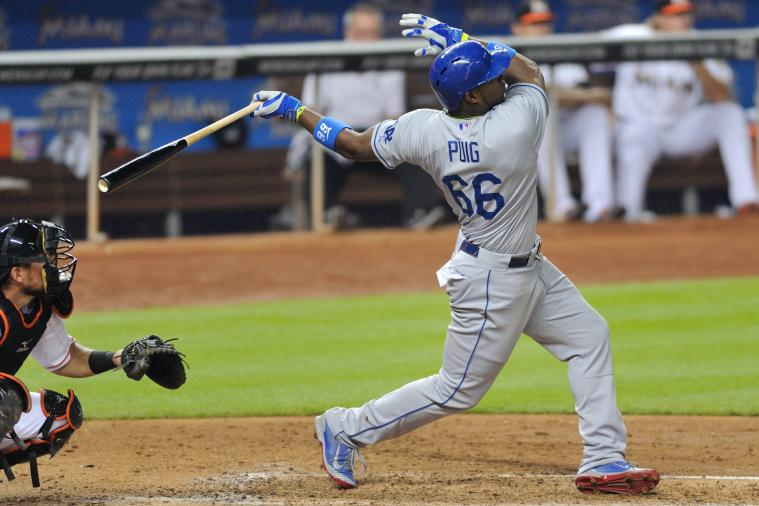 Yasiel Puig Hits Moonshot Home Run, Emphatically Flips the Bat