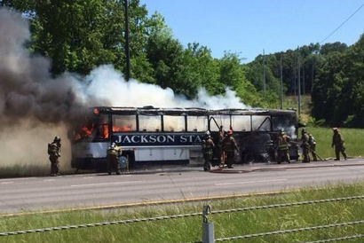 Jackson State Baseball Team's Bus Catches Fire on Way to Game vs. Savannah State