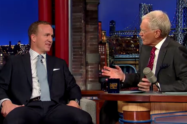 Peyton Manning Talks 'Omaha!' and Throws Footballs at New York Cabs on Letterman