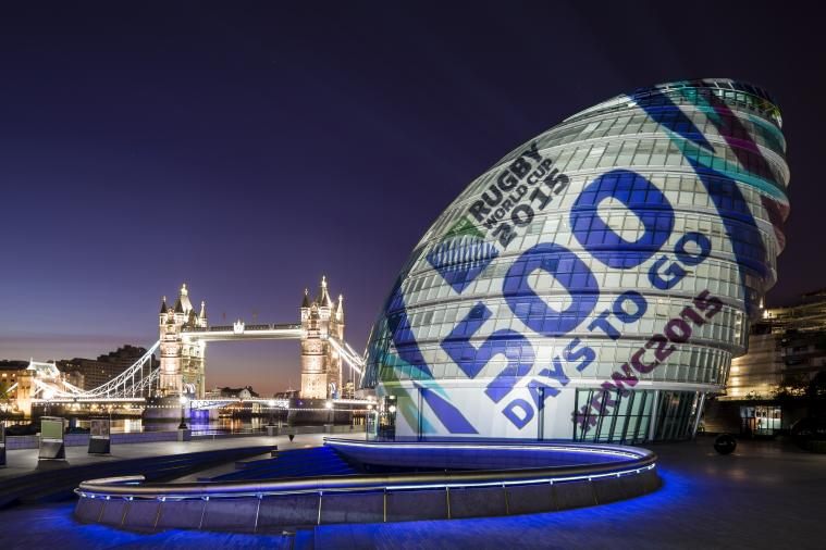 500 Days to the World Cup: City Hall Turned into Gigantic Rugby Ball