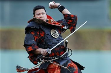 Fully-Fitted Samurai Throws out First Pitch at Tigers Game with Sword in Hand