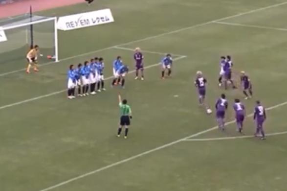 Japanese Team Kyoto Sanga Pull off Intricate Free-Kick Routine