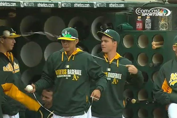 Athletics' Sonny Gray Fools Fans with the Old Ball-on-a-String Trick