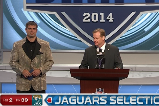 Brad Meester Wears Camo Jacket to Announce Jaguars' Pick at 2014 NFL Draft