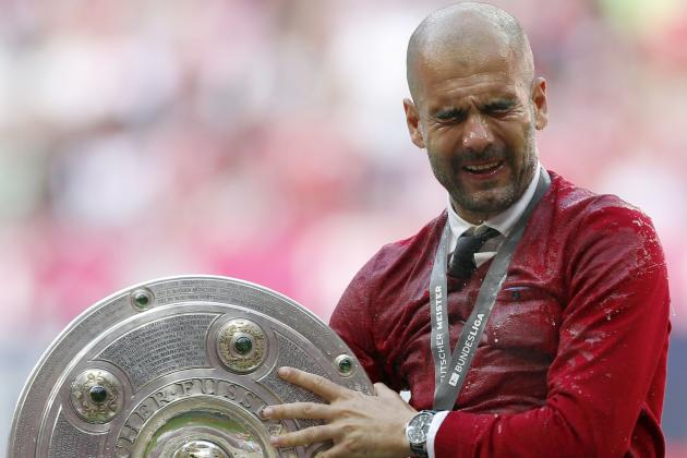 Bayern Munich's Pep Guardiola Takes a Boot of Beer to the Face in Celebration